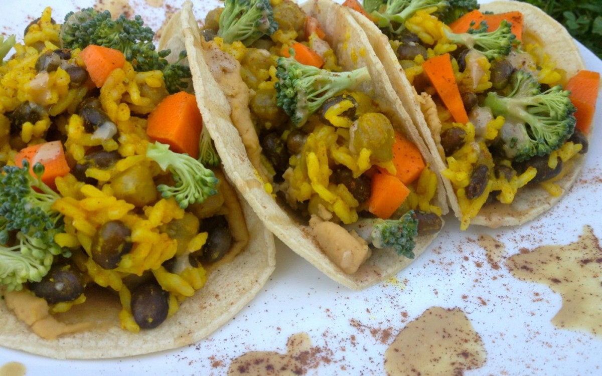 Curried Rice and Vegetable Tacos