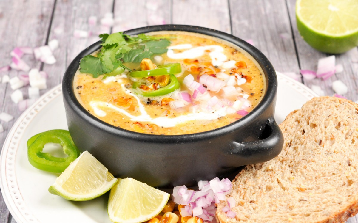 Mexican Elote Bisque With Lime Crema