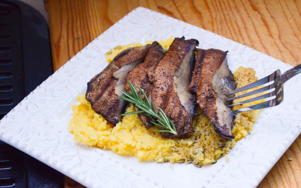 Portobello Mushroom Steaks With Cheesy Rosemary Polenta