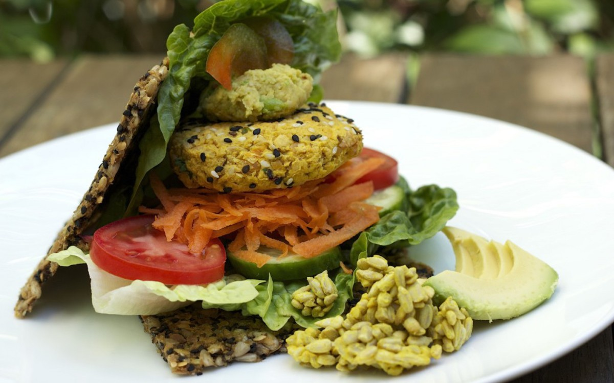 Raw Sprouted Hummus Veggie Burger With Sunflower Bread
