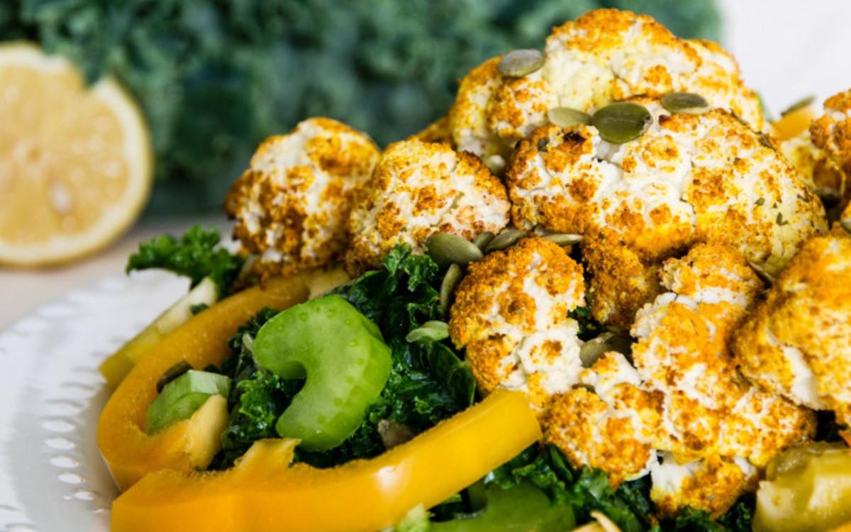 Roasted Turmeric Cauliflower and Kale Salad