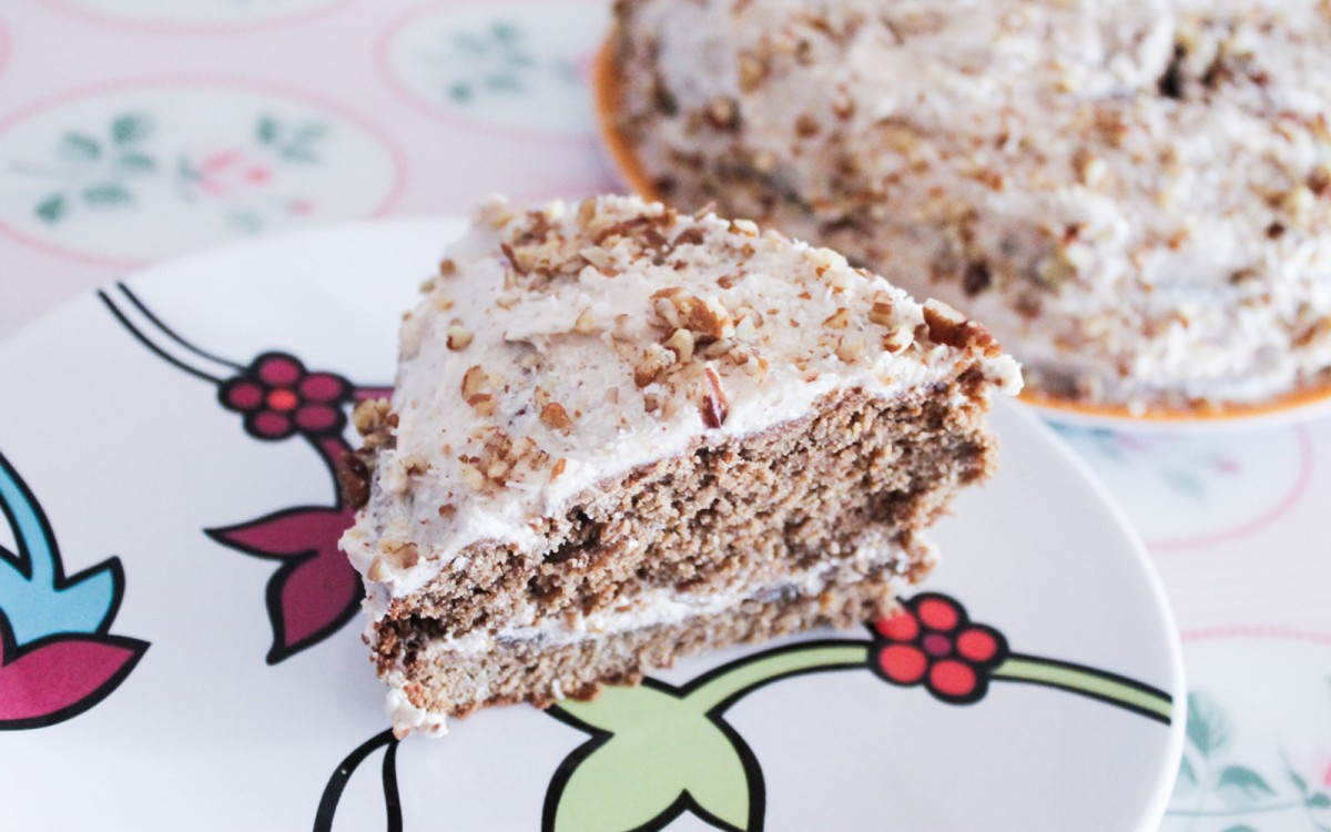 Spiced Cake With Coconut Almond Buttercream Frosting
