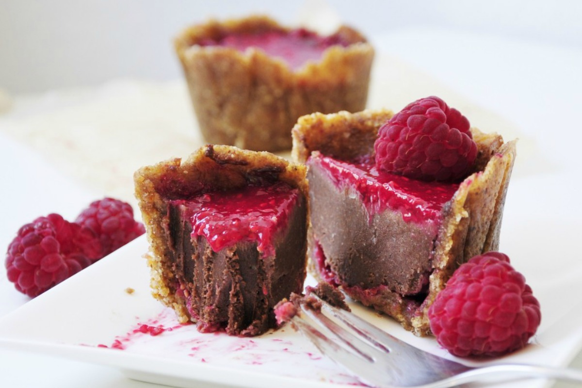 petite raspberry chocolate cakes