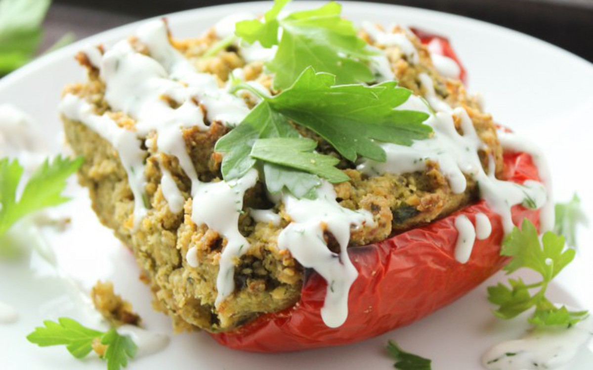 Falafel-Stuffed Peppers With a Coconut-Dill Sauce