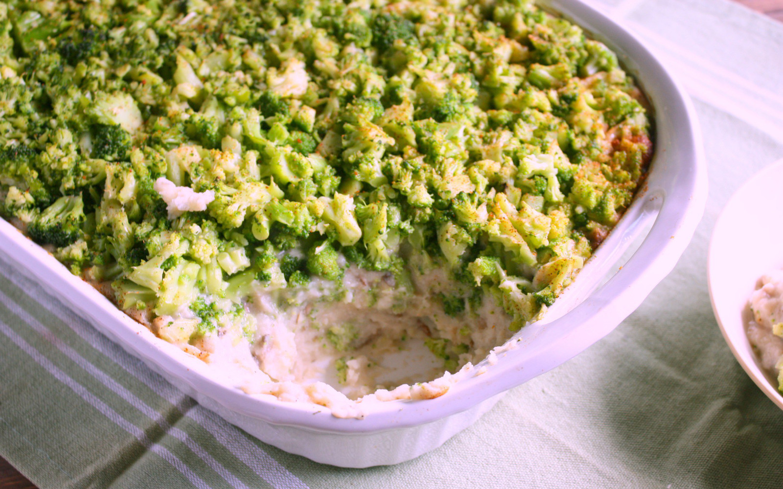 Mashed Potato Casserole With Broccoli and a Cauliflower Gravy