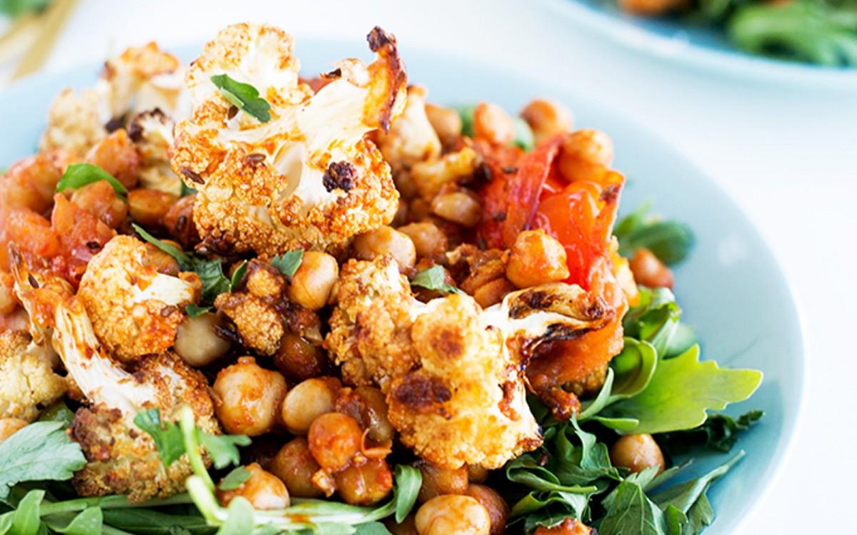 Roasted Spiced Cauliflower and Harissa Chickpea Salad