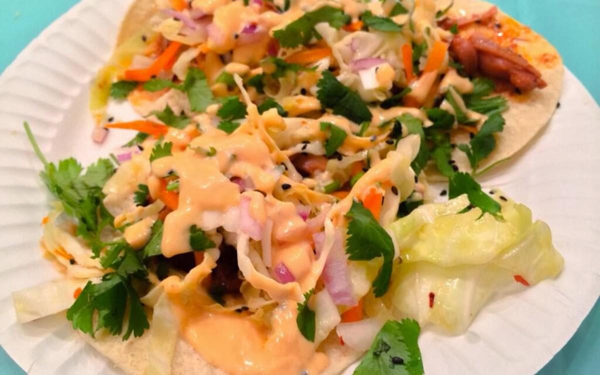 Spicy Korean BBQ Jackfruit Tacos With Sesame Carrot Coleslaw