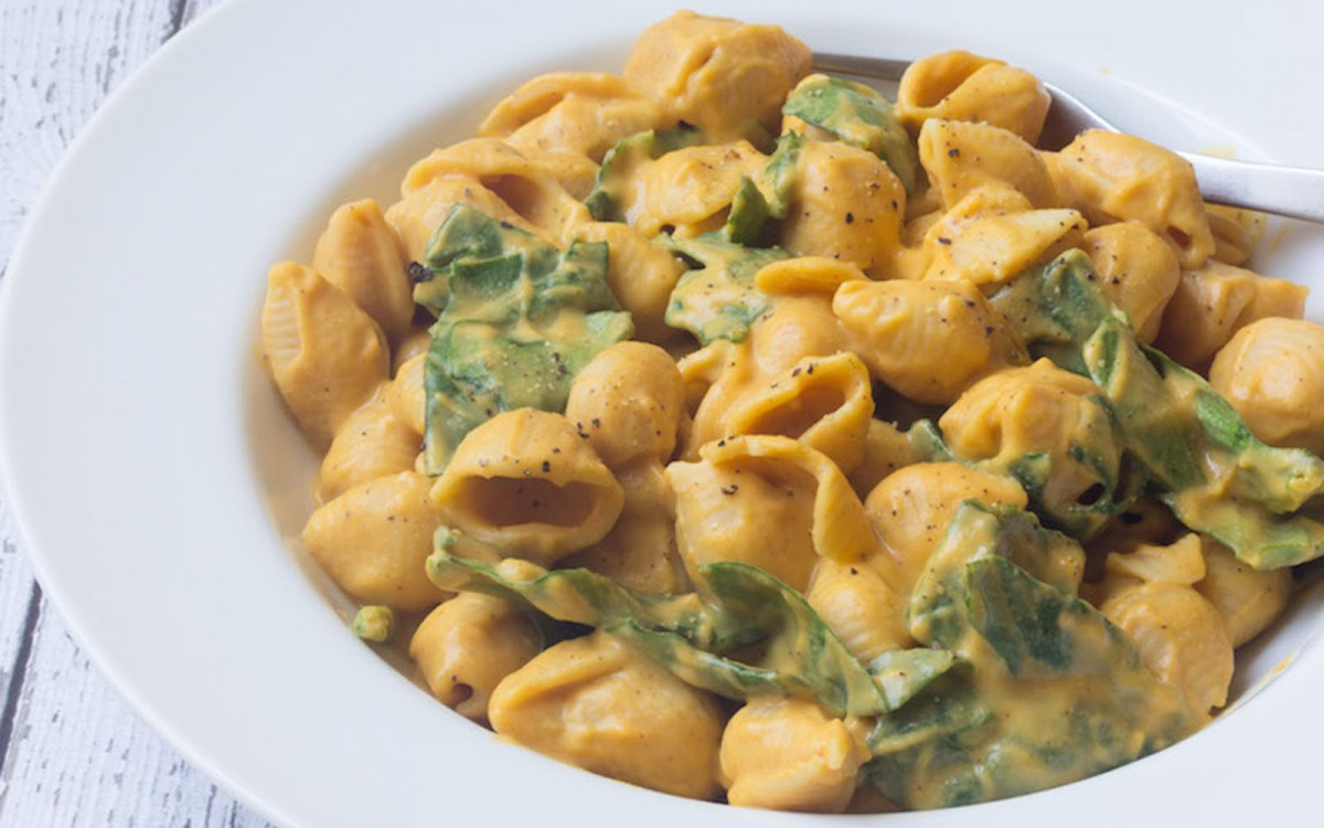 Sweet Potato Mac and Cheese with Spinach