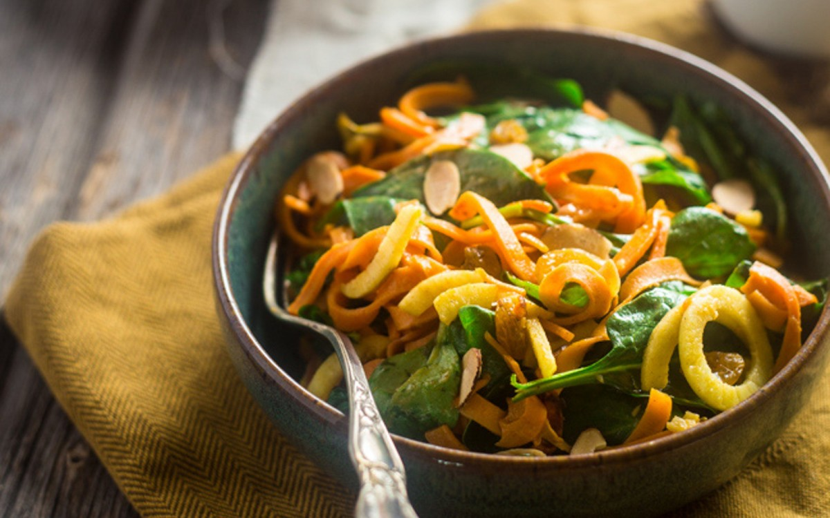 Sweet Potato and Apple Spinach Salad With Almond Dijon Vinaigrette