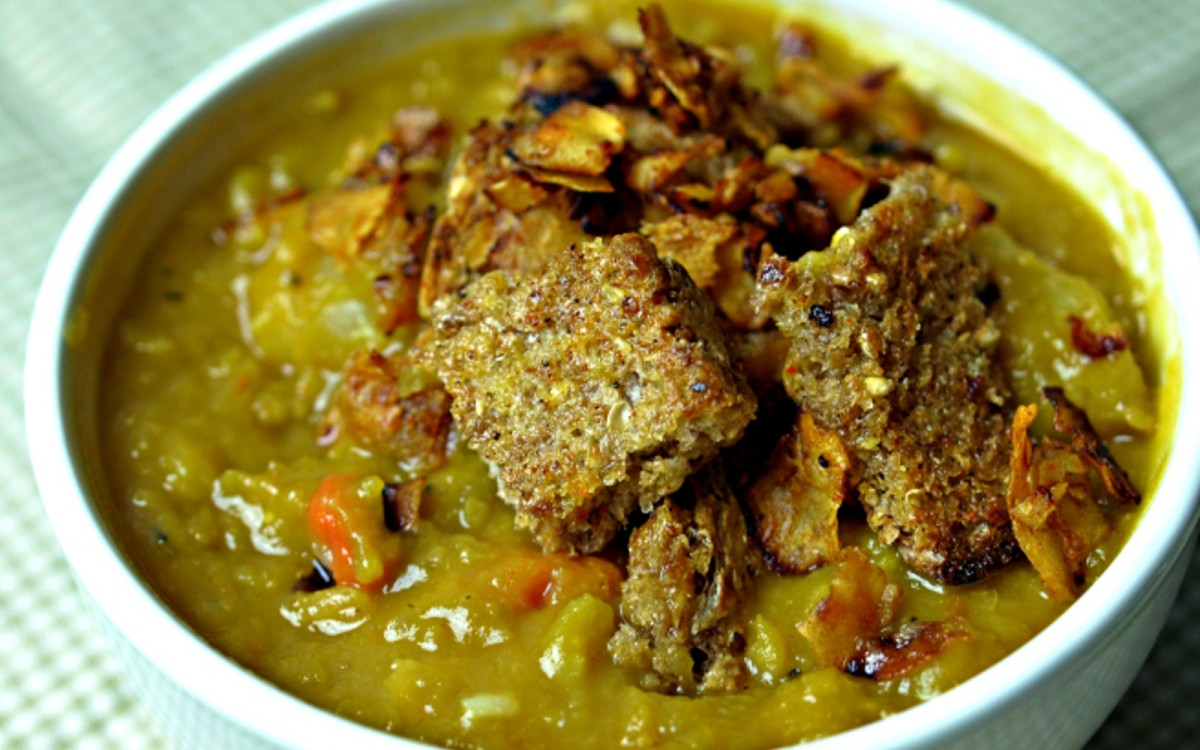 Slow Cooker Split Pea Soup With Homemade Croutons and Coconut Bacon