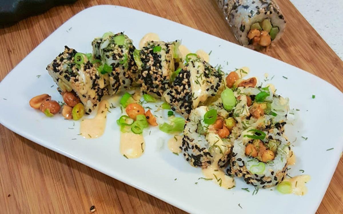 Buffalo Peanut Inside-Out Sushi