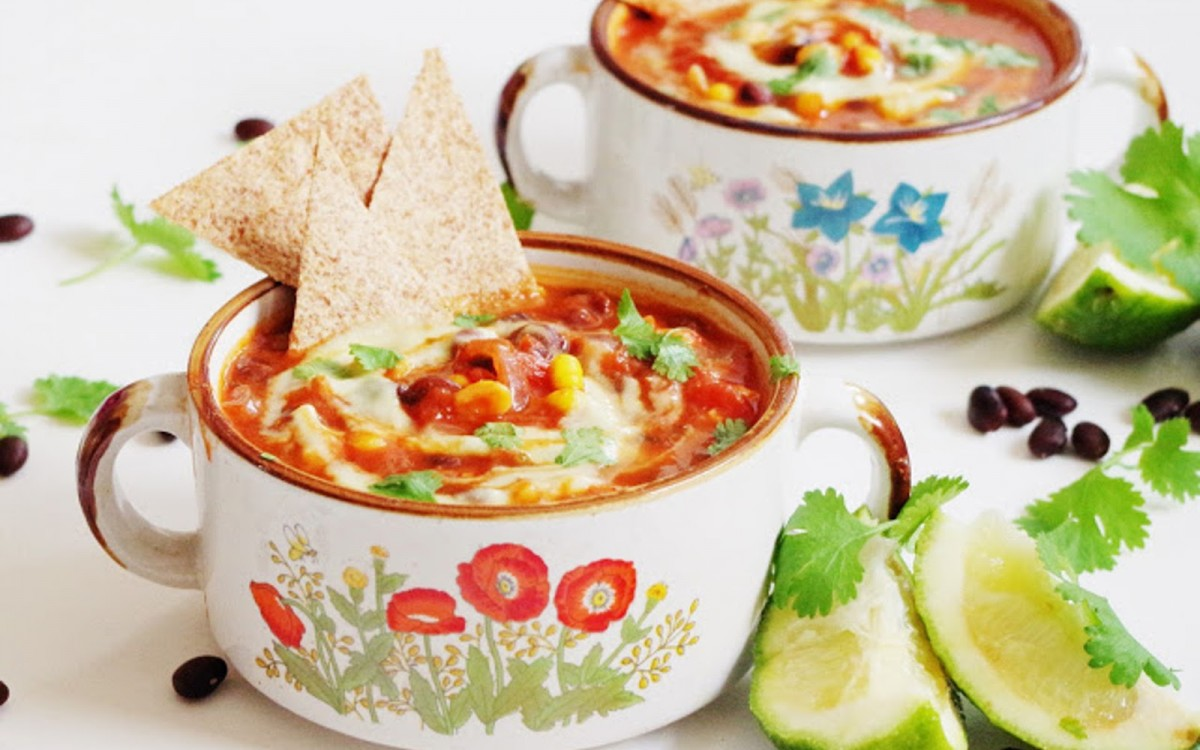 Mexican Black Bean Soup With Sweet Corn, Tortilla Chips, and Avocado Cream