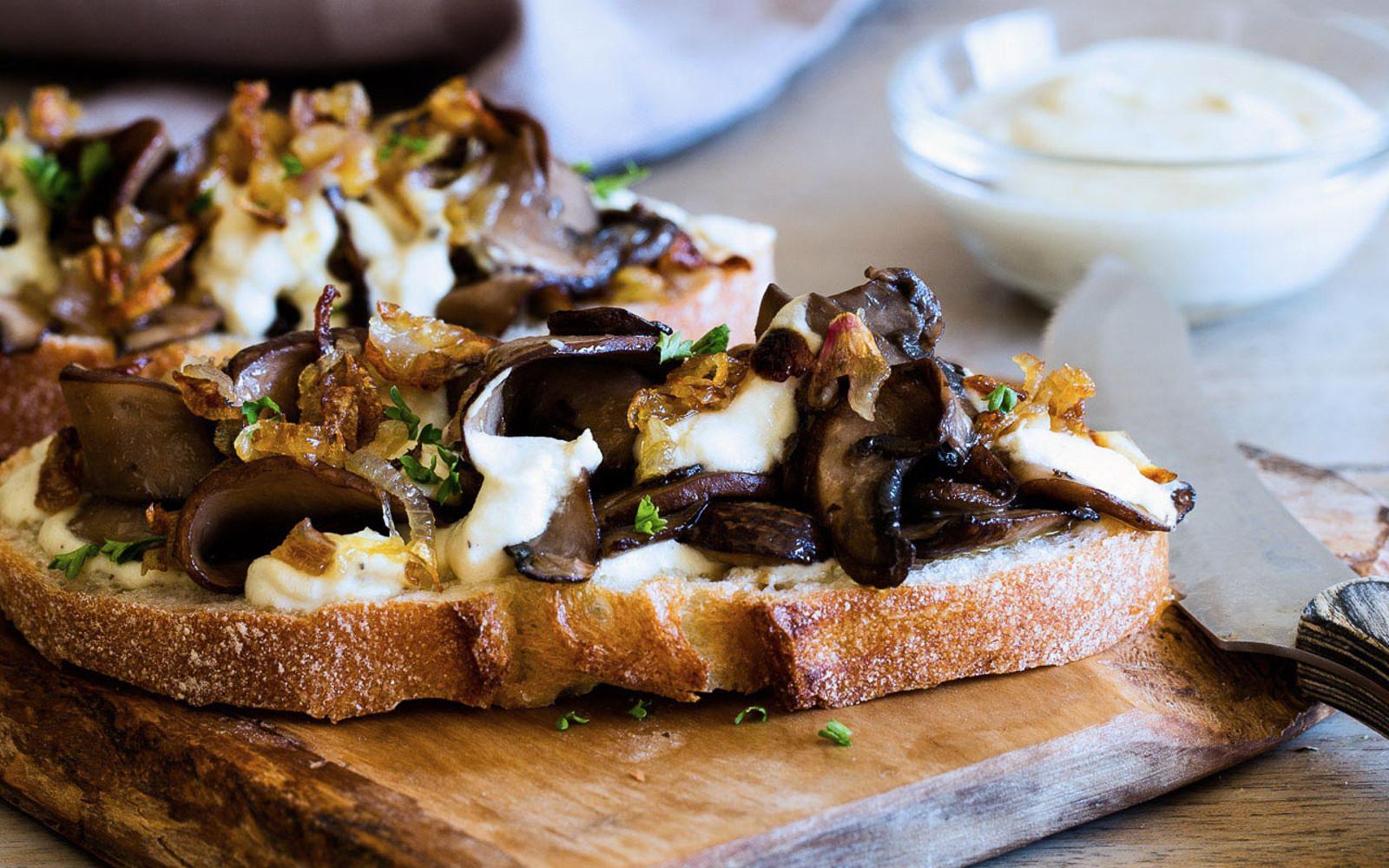 caramelized shallot and portobello open-faced sandwich
