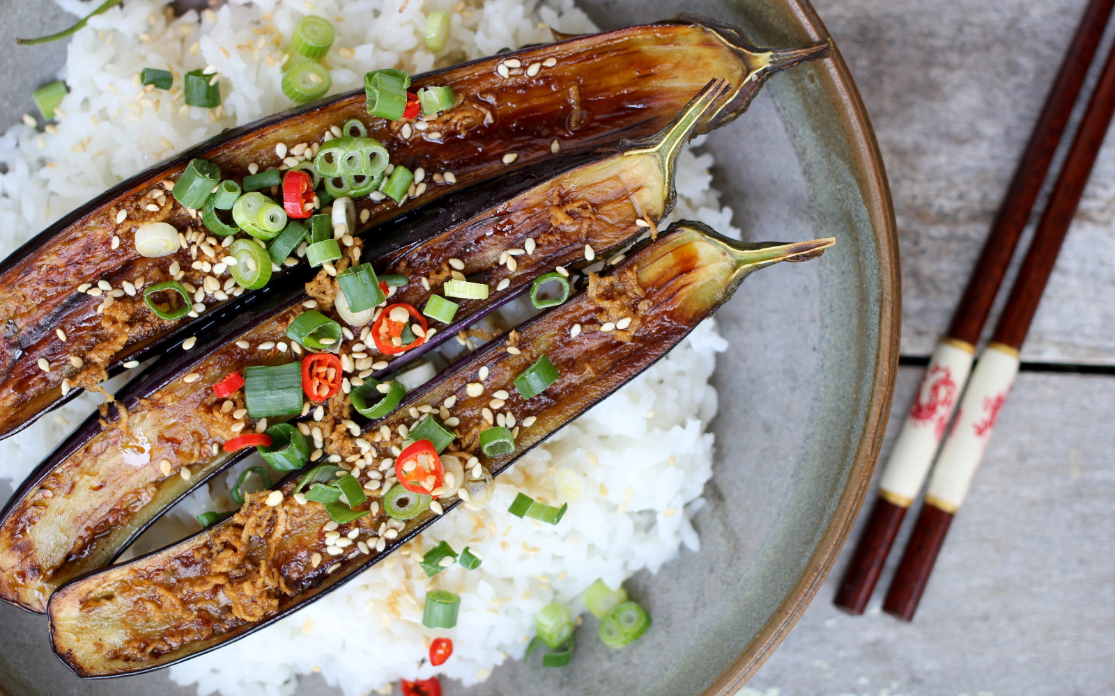 grilled eggplant with ginger dressing