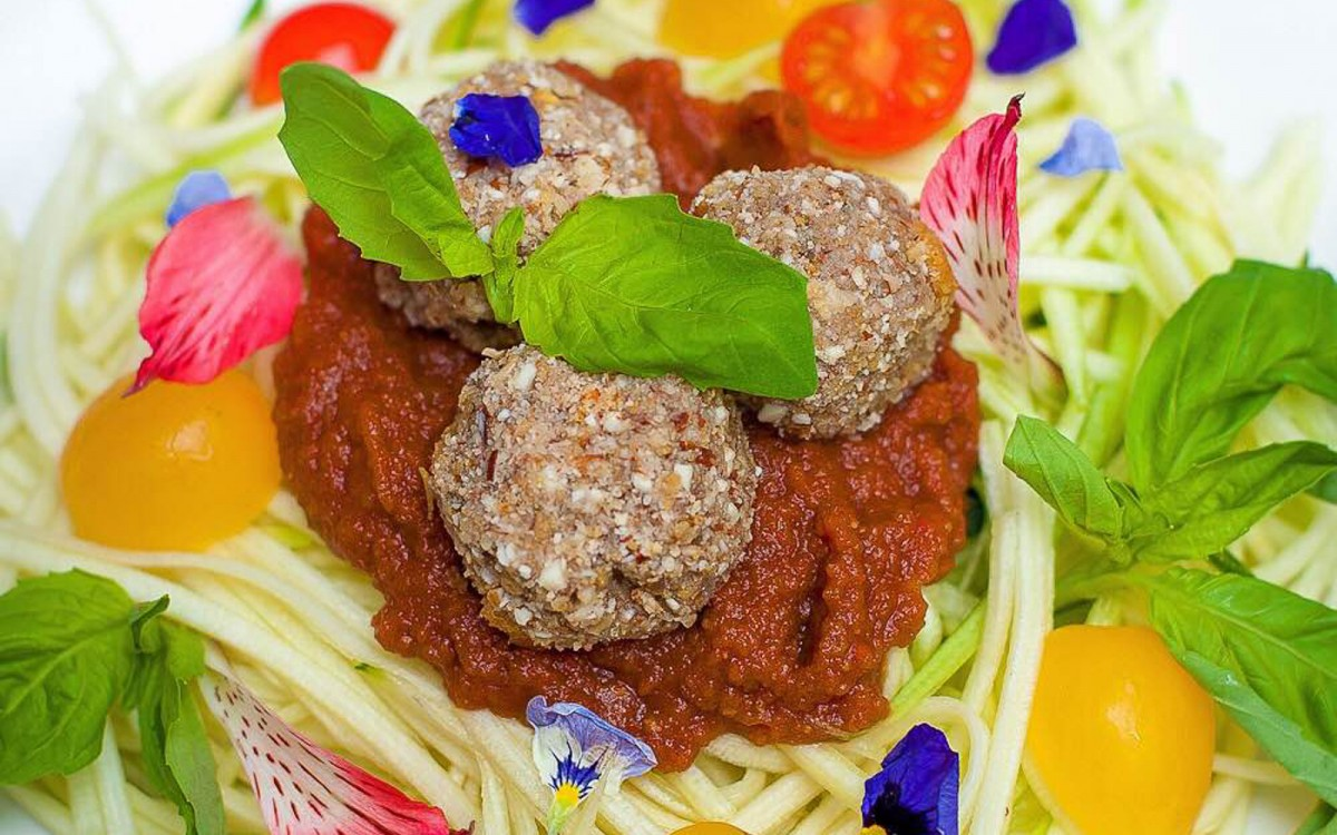 Raw Breaded Eggplant Meatballs With Marinara Sauce