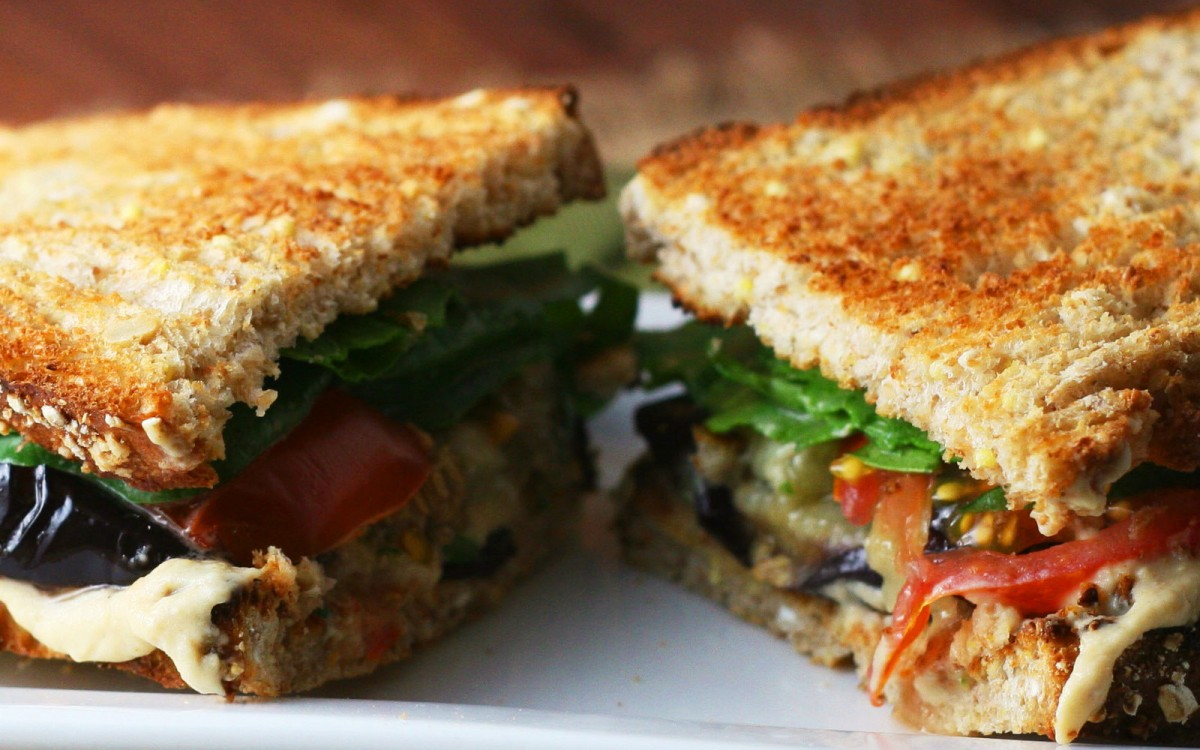 Roasted Eggplant and Marinated Tomato Sandwich