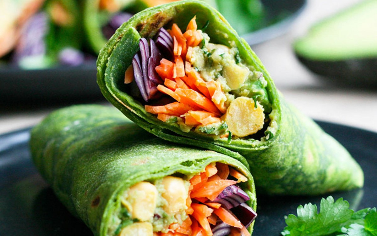 Avocado and Chickpea Spinach Wraps