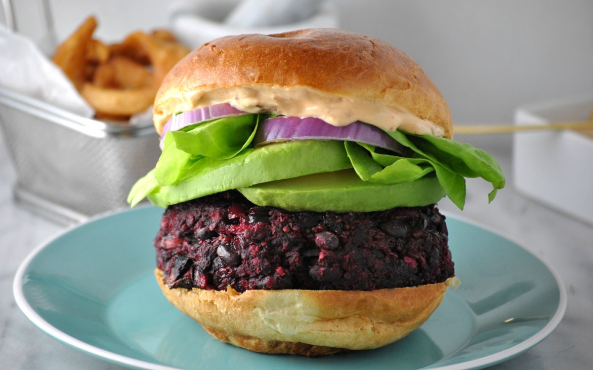 Mushroom, Red Onion, and Beet Burgers