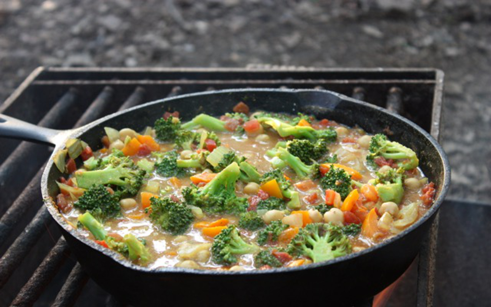 Campfire Broccoli and Chickpea Curry