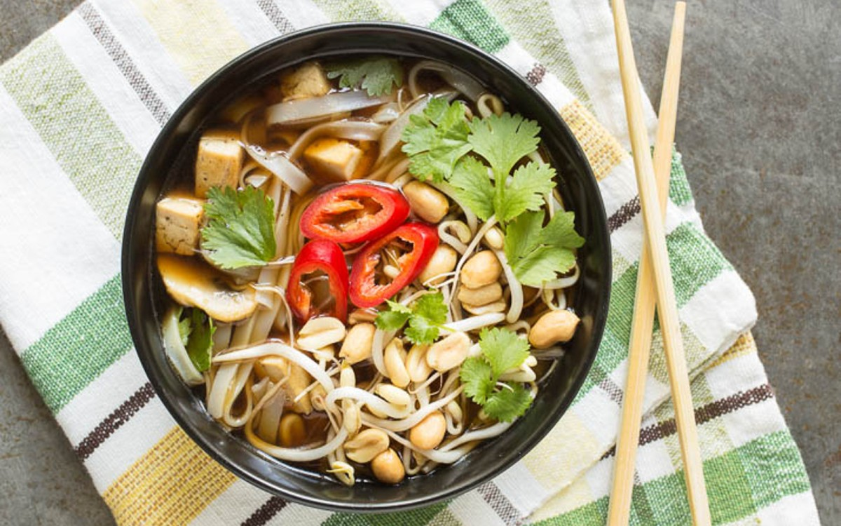 Vietnamese Pho With Mushrooms and Tofu