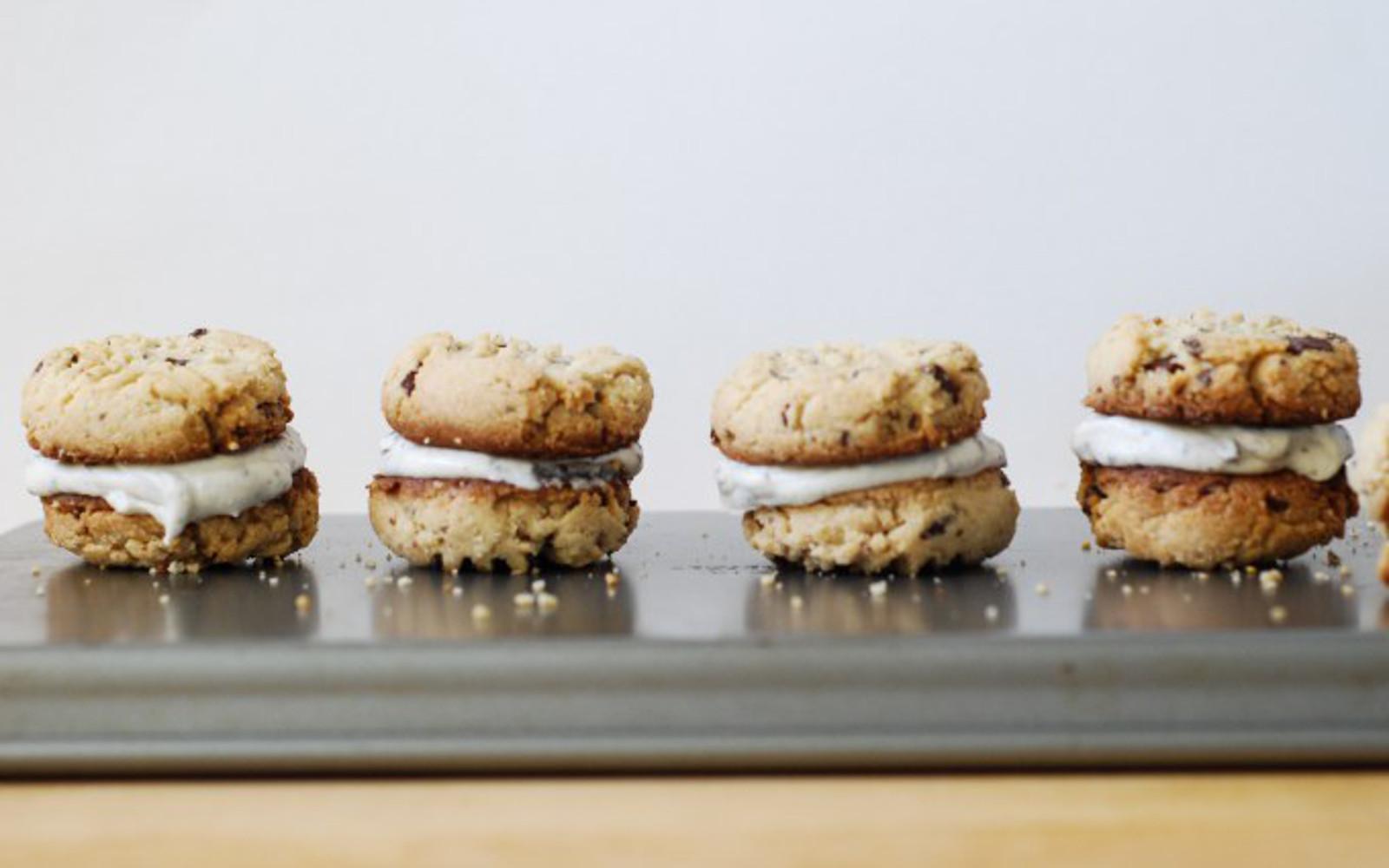 almond chocolate chunk cookie sandwiches