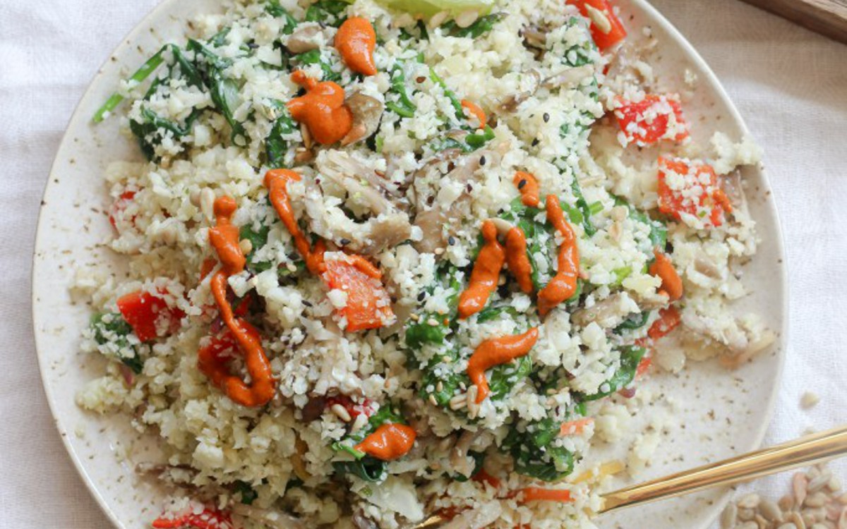 Easy Cauliflower Rice and Greens