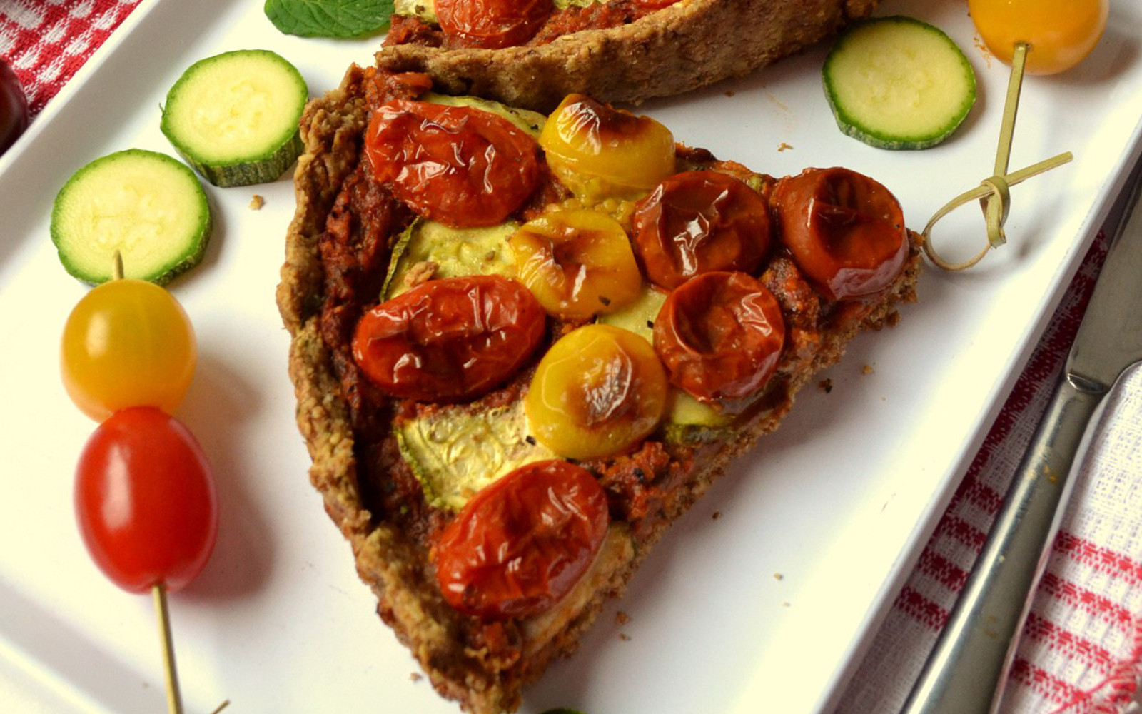 cherry tomato and pesto tart