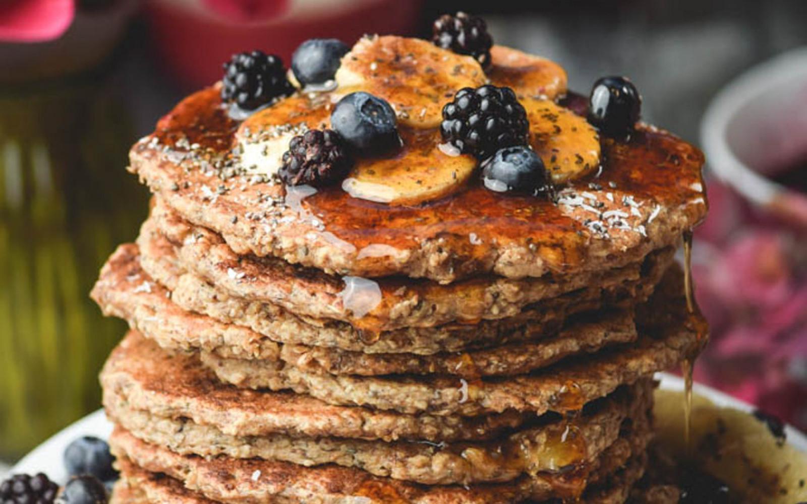 Chia Oat Banana Pancakes