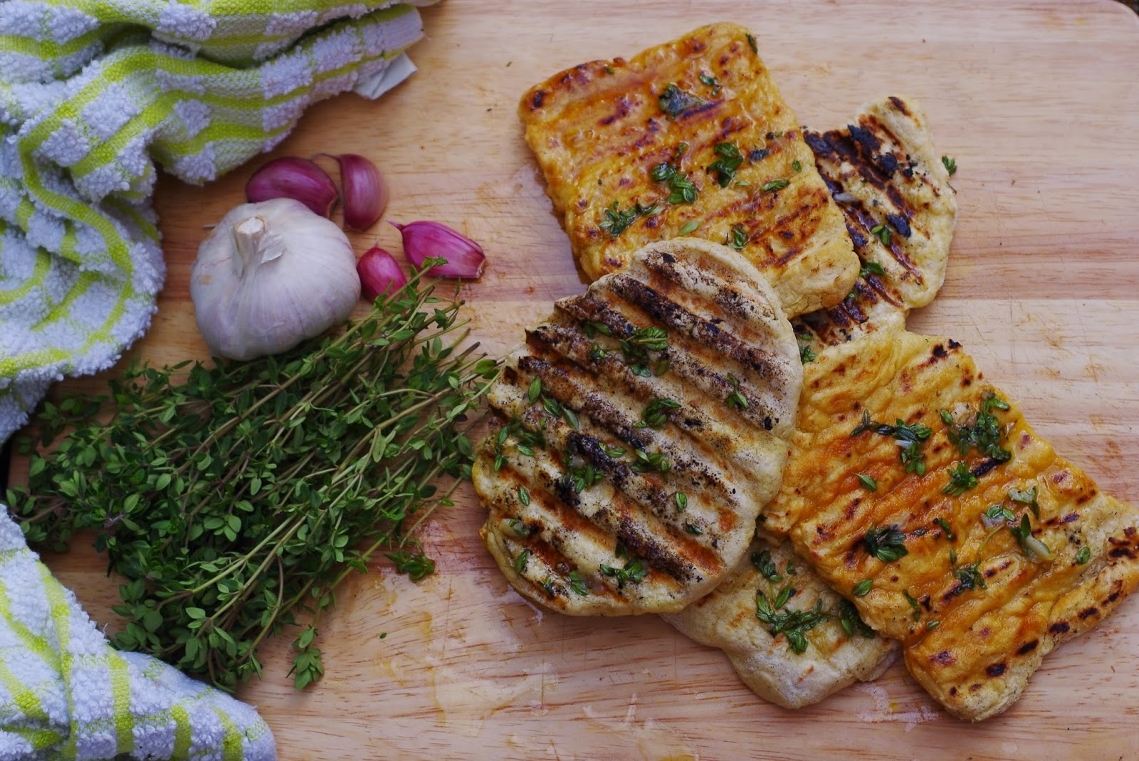 lemon thyme garlic flatbread