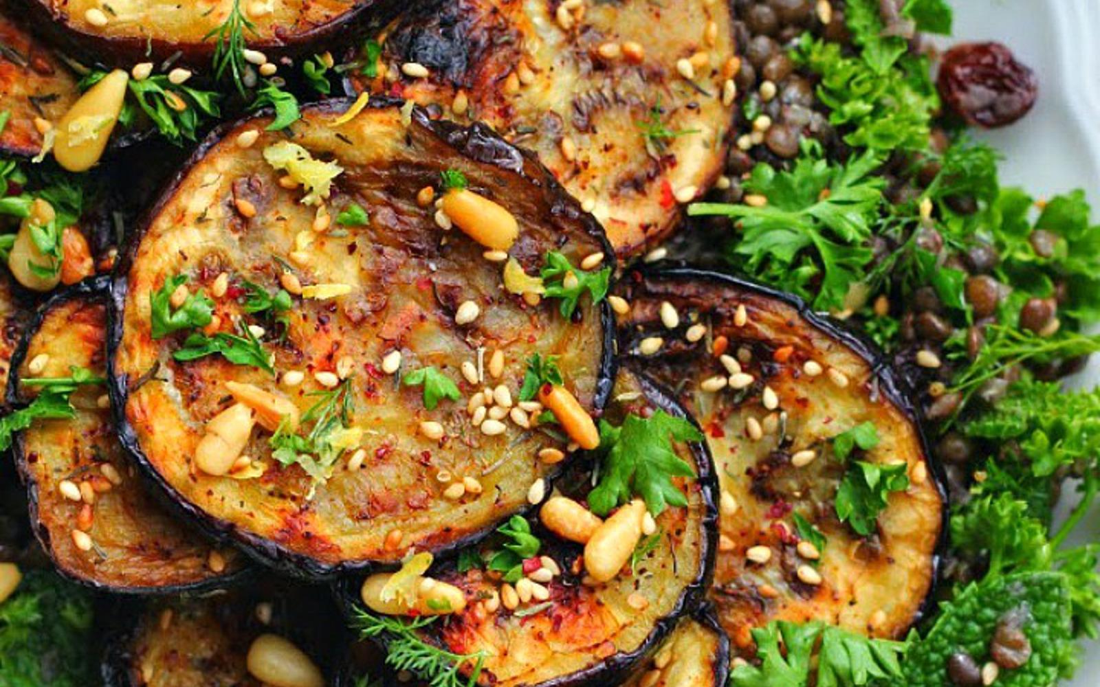 za'atar grilled eggplant salad