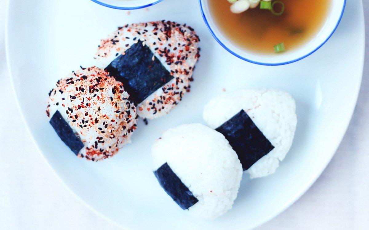 Onigiri Rice Dumplings With Sweet Potato and Shiitake Filling