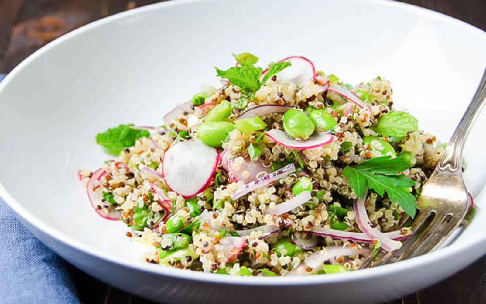 quinoa edamame salad with radish