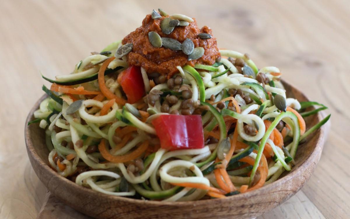 Spicy Tomato Tahini Spiralized Salad 2