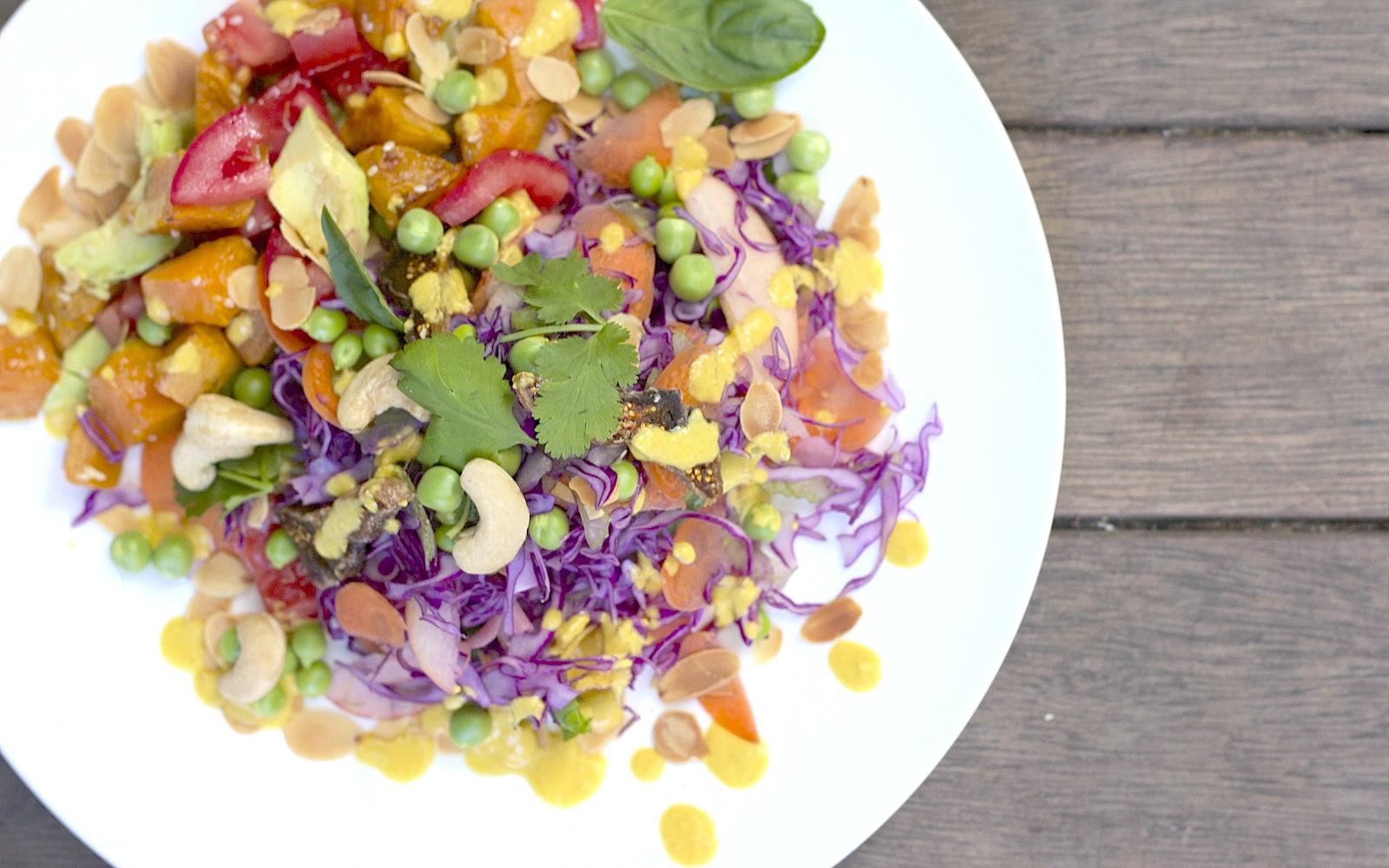 crunchy salad with sweet potato