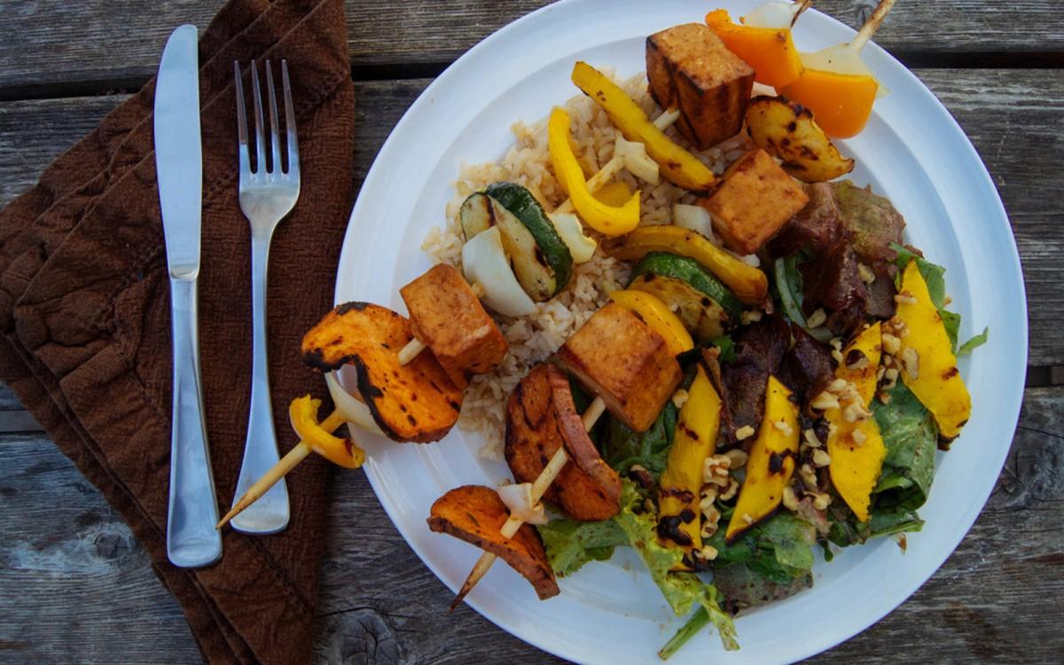 Tofu Kebabs With Grilled Mango Sorrel Salad