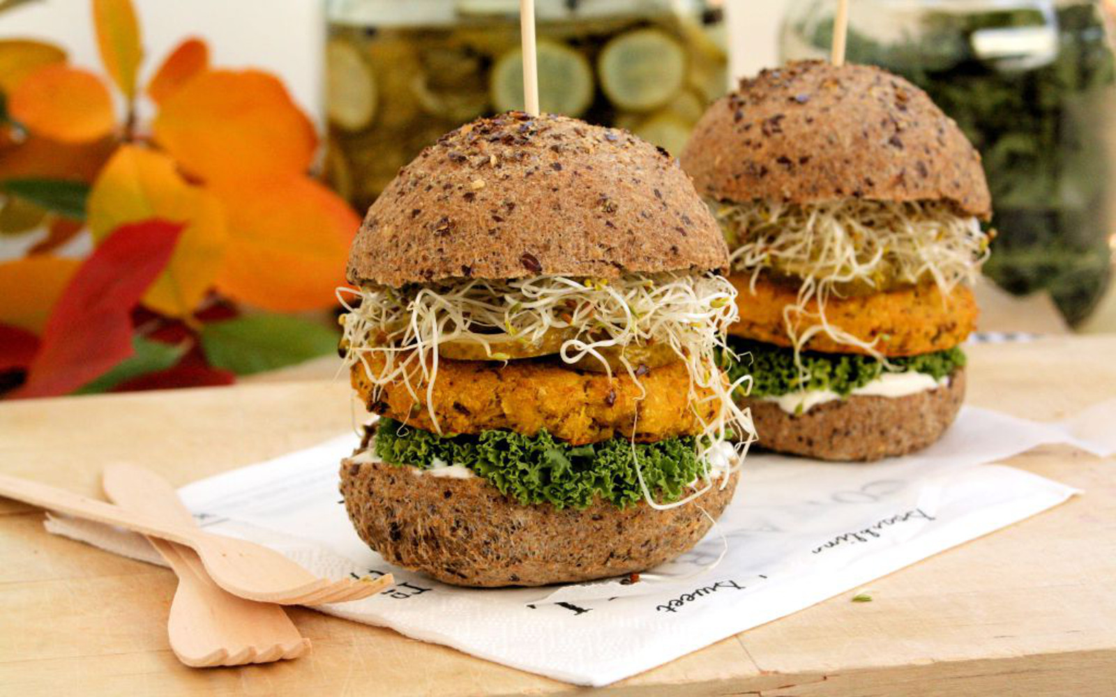curried pumpkin and chickpea burgers