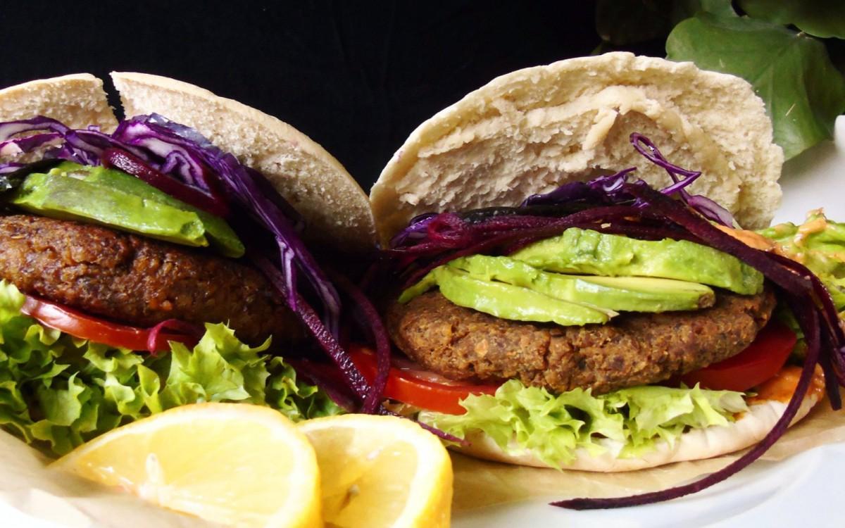 Chickpea Mushroom Pita Burgers