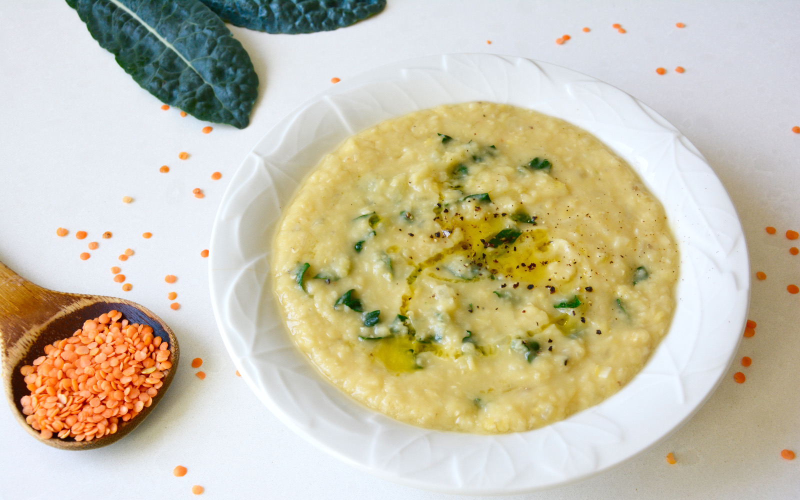 peppery red lentil soup with kale and lemon