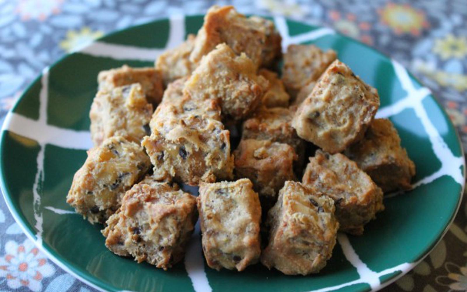 tahini glazed tempeh nuggets