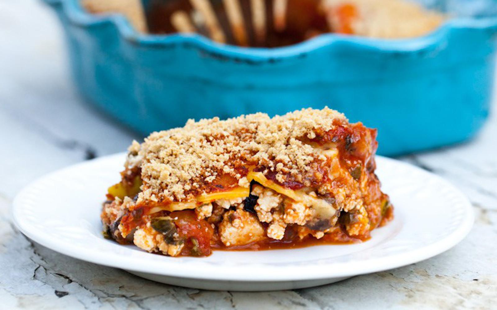 zucchini lasagna with portobello mushrooms