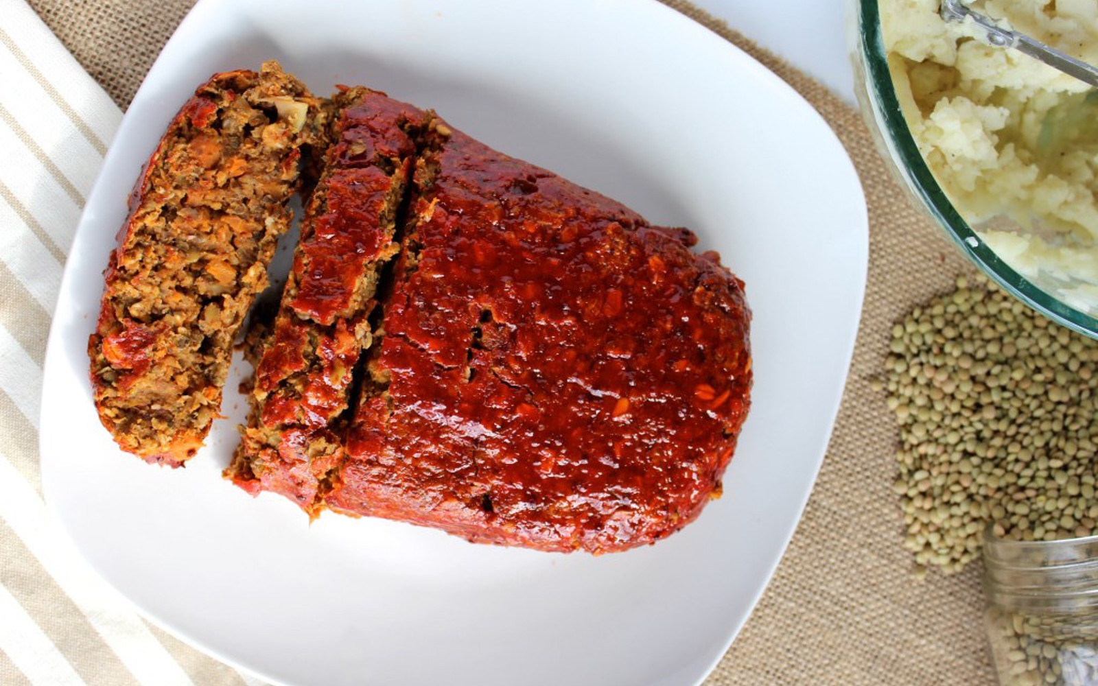 maple glazed mushroom and lentil loaf