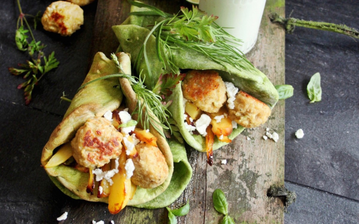 Millet Falafel in Spinach Naan With Almond Feta