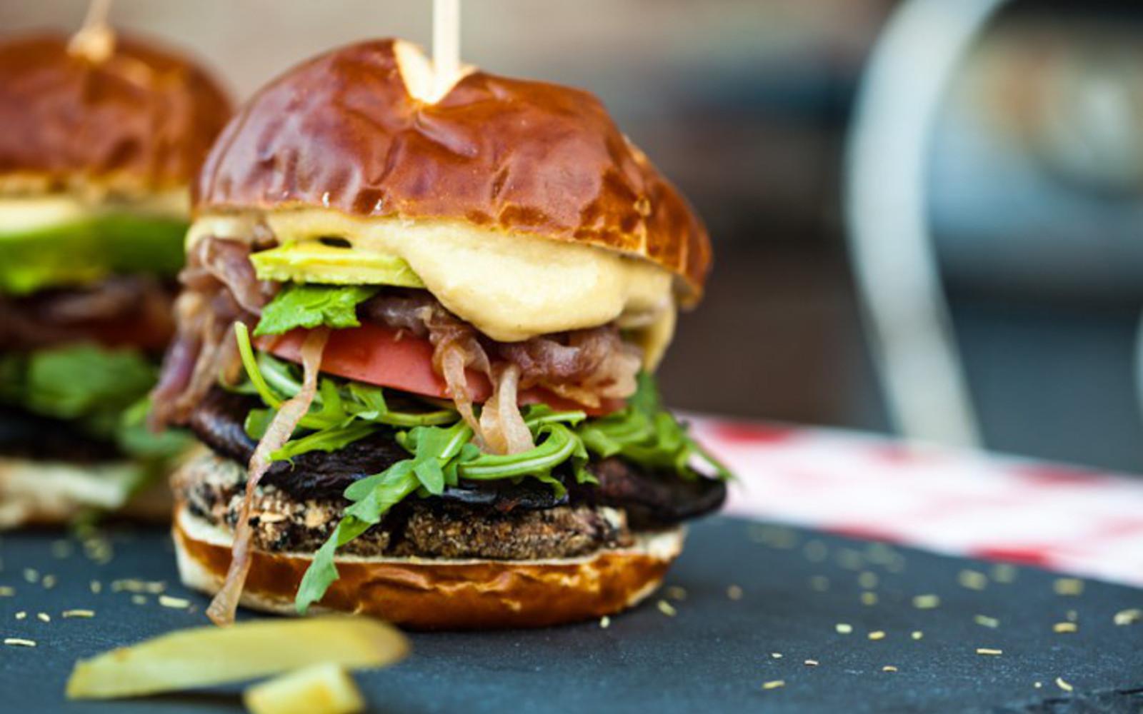 smoky portobello black bean burger