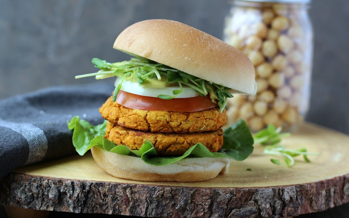 Spicy Sweet Potato and Chickpea Burger