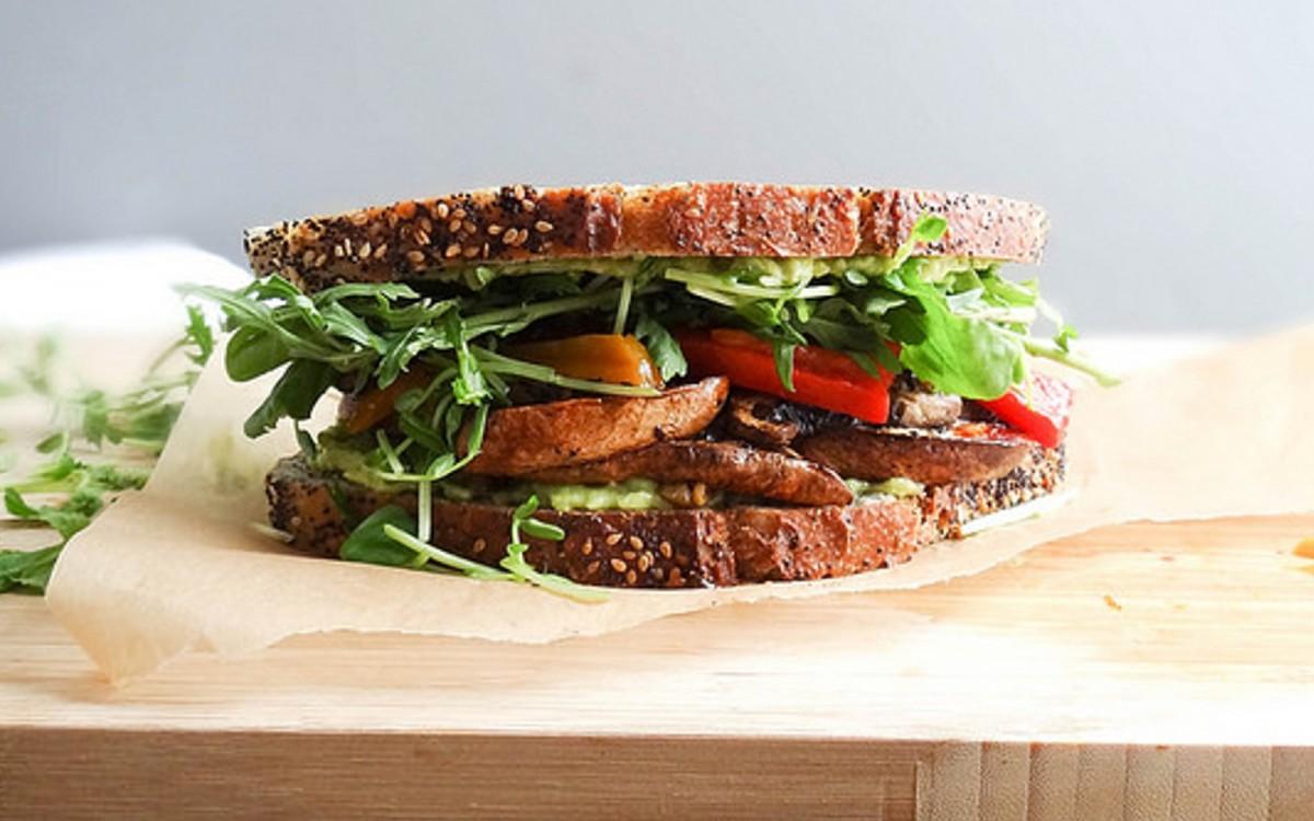 Smoky Portobello Bacon and Avocado Sandwich b