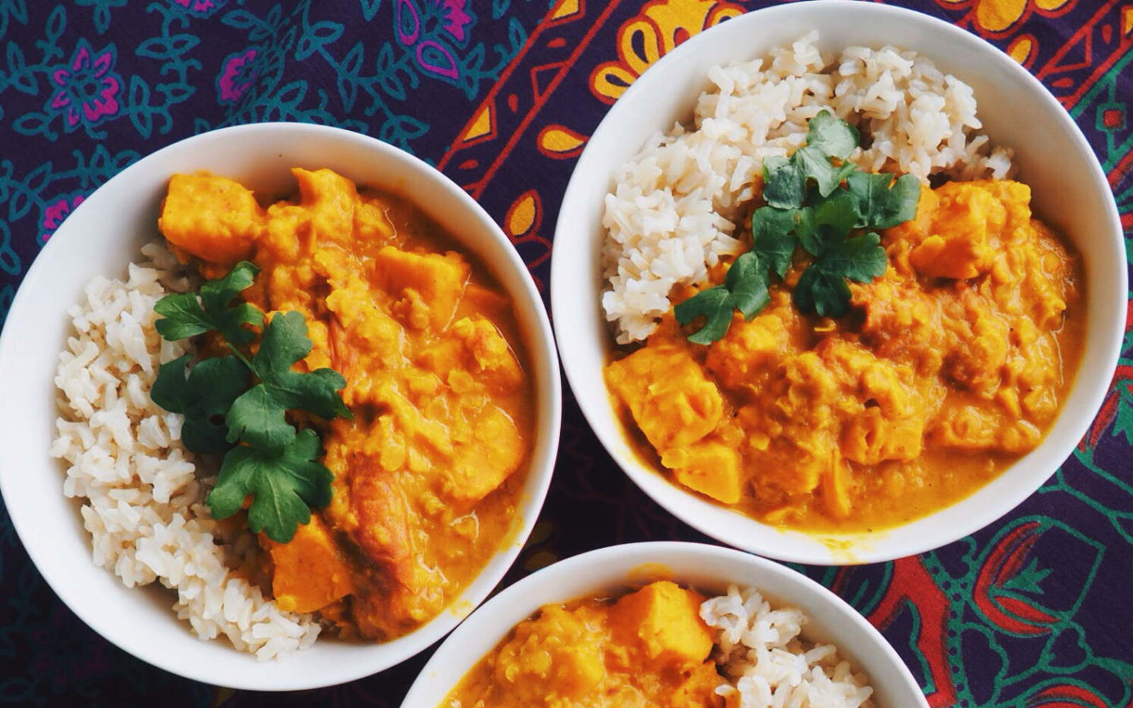 sweet potato and tomato red lentil dal