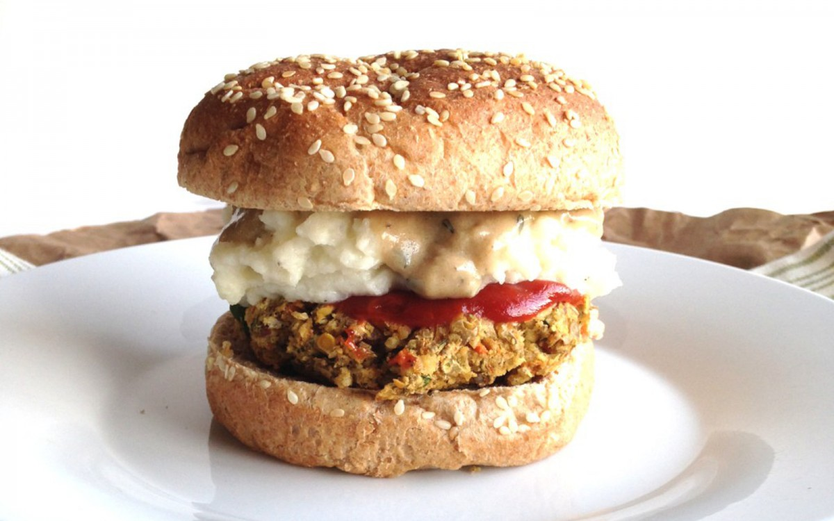 Meatloaf Veggie Burger With Mashed Potatoes and Gravy
