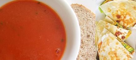vegan cheese quesadilla hummus tomato soup