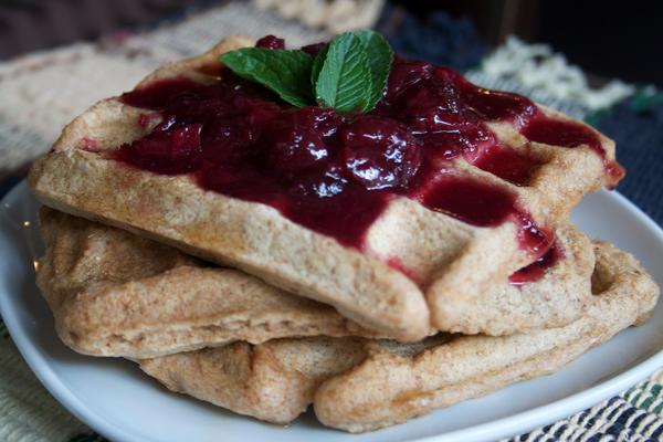Vegan Waffles With Cherry Sauce