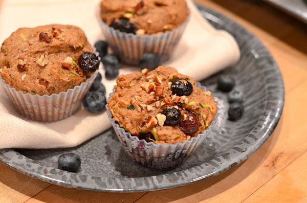 Zucchini Blueberry Muffins Vegan
